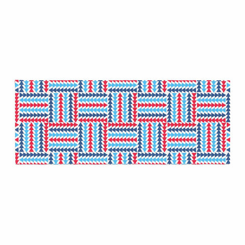 "afe images ""AFE Abstract Basket Weave"" Red Blue Abstract Pattern Digital Illustration Bed Runner"