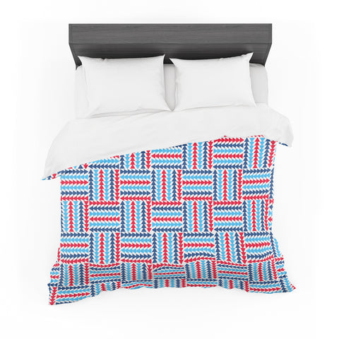 "afe images ""AFE Abstract Basket Weave"" Red Blue Abstract Pattern Digital Illustration Featherweight Duvet Cover"