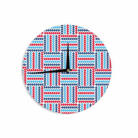 "afe images ""AFE Abstract Basket Weave"" Red Blue Abstract Pattern Digital Illustration Wall Clock"