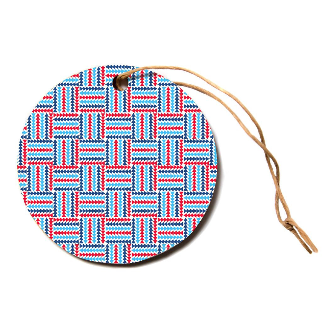 "afe images ""AFE Abstract Basket Weave"" Red Blue Abstract Pattern Digital Illustration Circle Holiday Ornament"