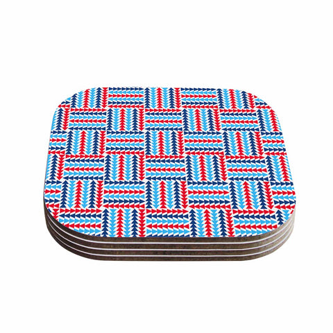 "afe images ""AFE Abstract Basket Weave"" Red Blue Abstract Pattern Digital Illustration Coasters (Set of 4)"