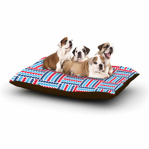 "afe images ""AFE Abstract Basket Weave"" Red Blue Abstract Pattern Digital Illustration Dog Bed"