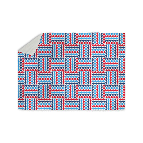 "afe images ""AFE Abstract Basket Weave"" Red Blue Abstract Pattern Digital Illustration Sherpa Blanket"