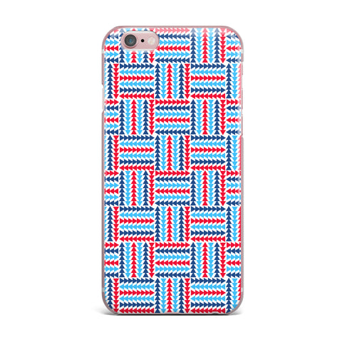 "afe images ""AFE Abstract Basket Weave"" Red Blue Abstract Pattern Digital Illustration iPhone Case"