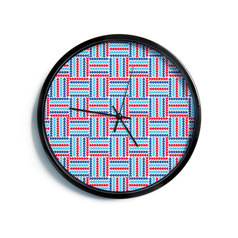"afe images ""AFE Abstract Basket Weave"" Red Blue Abstract Pattern Digital Illustration Modern Wall Clock"