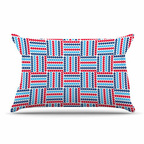 "afe images ""AFE Abstract Basket Weave"" Red Blue Abstract Pattern Digital Illustration Pillow Sham"