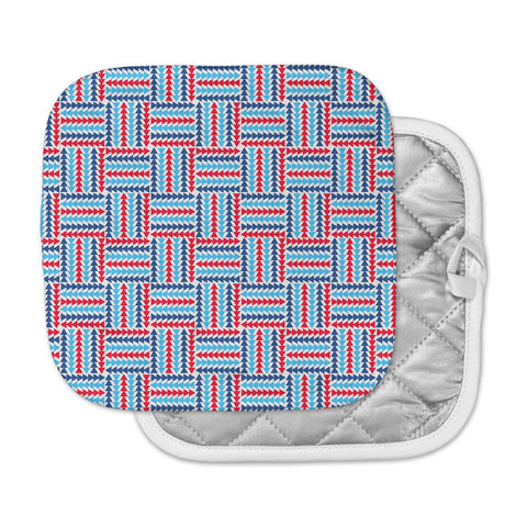 "afe images ""AFE Abstract Basket Weave"" Red Blue Abstract Pattern Digital Illustration Pot Holder"