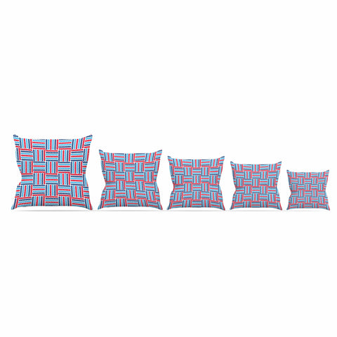 "afe images ""AFE Abstract Basket Weave"" Red Blue Abstract Pattern Digital Illustration Outdoor Throw Pillow"