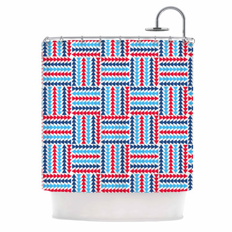 "afe images ""AFE Abstract Basket Weave"" Red Blue Abstract Pattern Digital Illustration Shower Curtain"