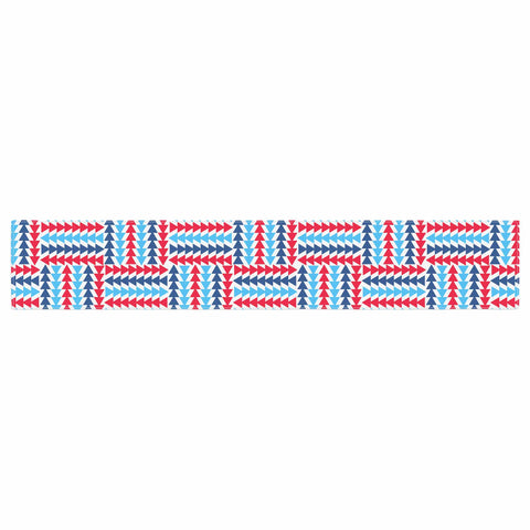 "afe images ""AFE Abstract Basket Weave"" Red Blue Abstract Pattern Digital Illustration Table Runner"