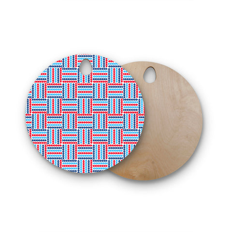 "afe images ""AFE Abstract Basket Weave"" Red Blue Abstract Pattern Digital Illustration Round Wooden Cutting Board"