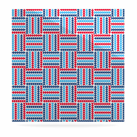 "afe images ""AFE Abstract Basket Weave"" Red Blue Abstract Pattern Digital Illustration Luxe Square Panel"
