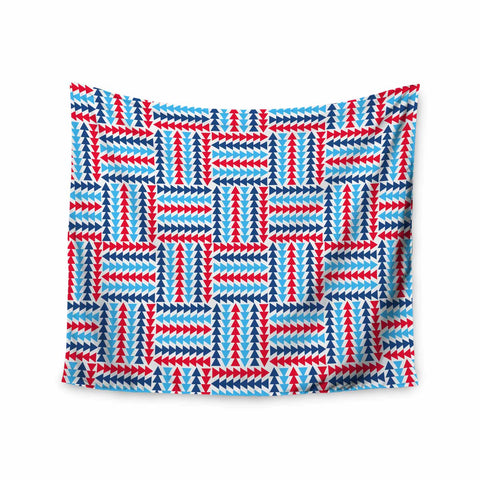 "afe images ""AFE Abstract Basket Weave"" Red Blue Abstract Pattern Digital Illustration Wall Tapestry"