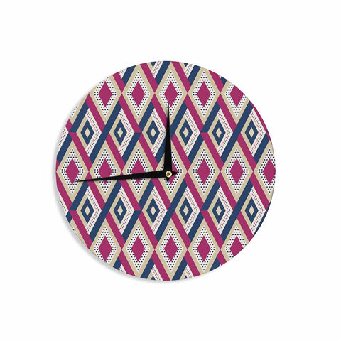 "afe images ""AFE Diamond Pattern"" Multicolor Diamond Pattern Digital Illustration Wall Clock"