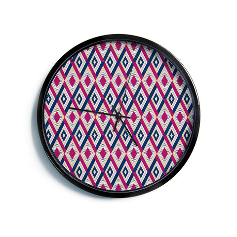 "afe images ""AFE Diamond Pattern"" Multicolor Diamond Pattern Digital Illustration Modern Wall Clock"