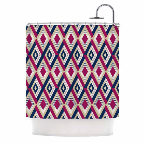"afe images ""AFE Diamond Pattern"" Multicolor Diamond Pattern Digital Illustration Shower Curtain"