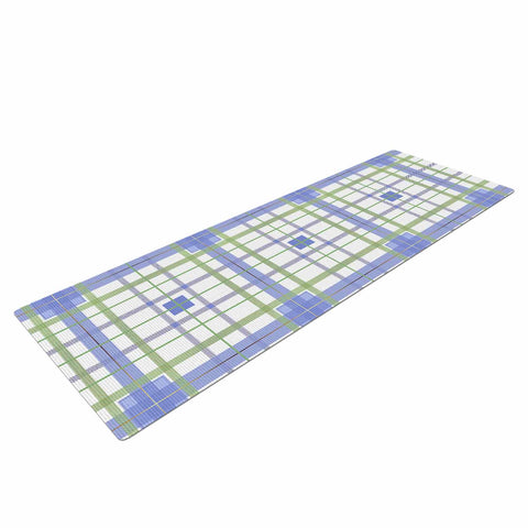 "afe images ""AFE Tartan Pattern3"" Blue Green Checker Pattern Illustration Digital Yoga Mat"