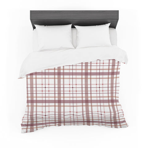 "afe images ""AFE Tartan Pattern2"" Brown Maroon Checker Pattern Illustration Digital Featherweight Duvet Cover"