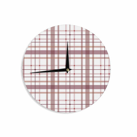 "afe images ""AFE Tartan Pattern2"" Brown Maroon Checker Pattern Illustration Digital Wall Clock"