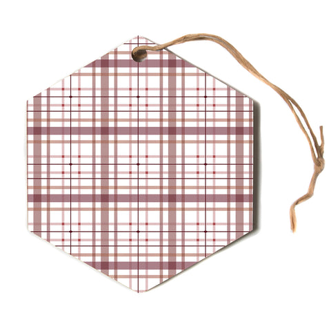 "afe images ""AFE Tartan Pattern2"" Brown Maroon Checker Pattern Illustration Digital Hexagon Holiday Ornament"