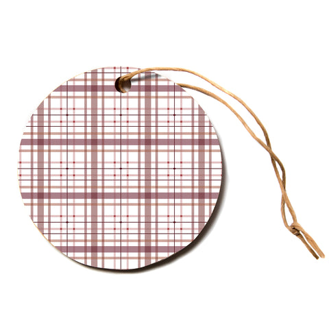 "afe images ""AFE Tartan Pattern2"" Brown Maroon Checker Pattern Illustration Digital Circle Holiday Ornament"