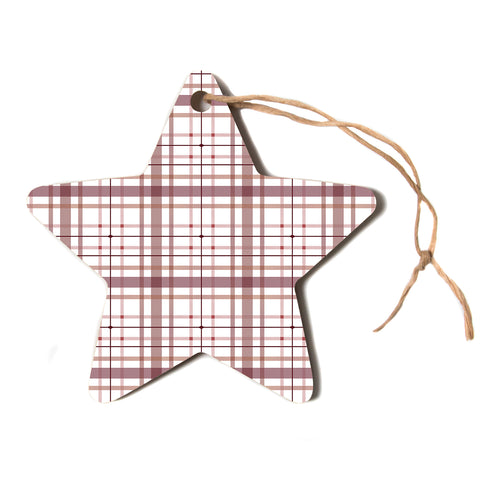 "afe images ""AFE Tartan Pattern2"" Brown Maroon Checker Pattern Illustration Digital Star Holiday Ornament"