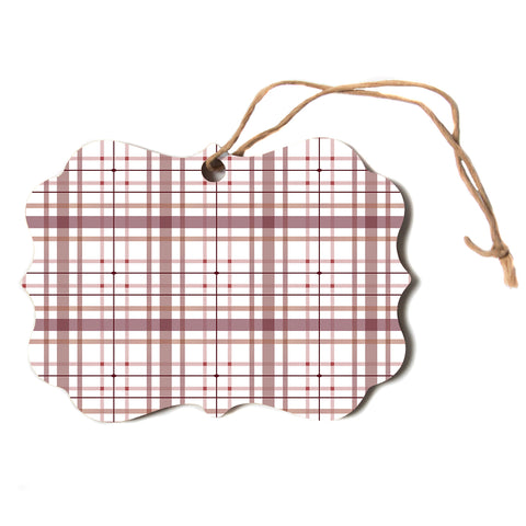 "afe images ""AFE Tartan Pattern2"" Brown Maroon Checker Pattern Illustration Digital Scroll Holiday Ornament"