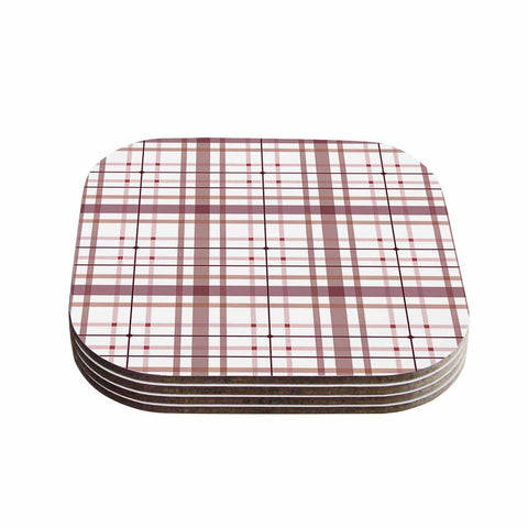 "afe images ""AFE Tartan Pattern2"" Brown Maroon Checker Pattern Illustration Digital Coasters (Set of 4)"
