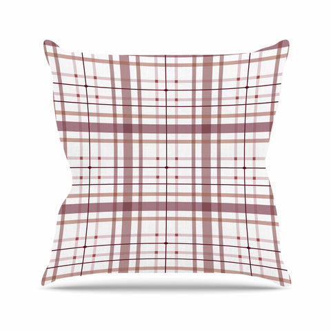 "afe images ""AFE Tartan Pattern2"" Brown Maroon Checker Pattern Illustration Digital Outdoor Throw Pillow"