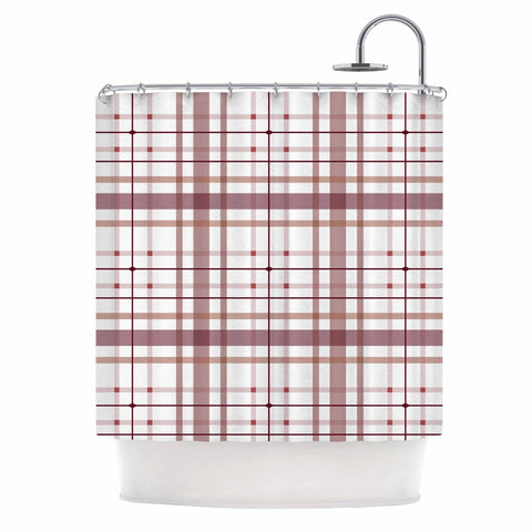 "afe images ""AFE Tartan Pattern2"" Brown Maroon Checker Pattern Illustration Digital Shower Curtain"