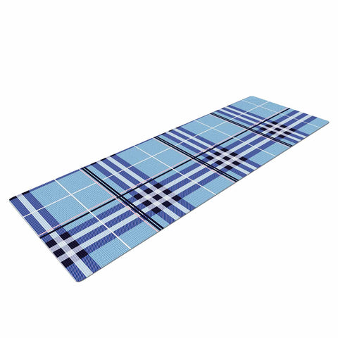 "afe images ""AFE Blue Tartan"" Blue Pattern Checker Illustration Digital Yoga Mat"
