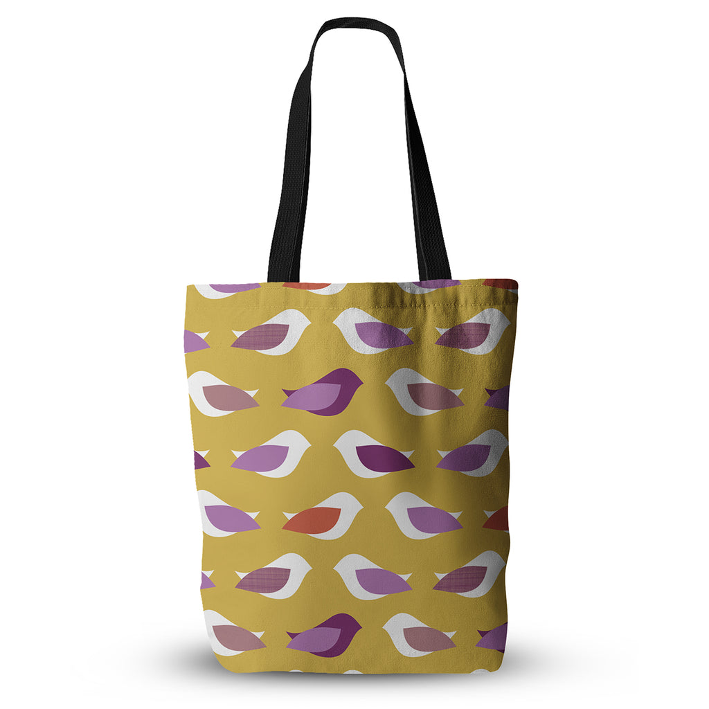 "Pellerina Design ""Golden Orchid Birds"" Yellow Purple Everything Tote Bag - KESS InHouse  - 1"