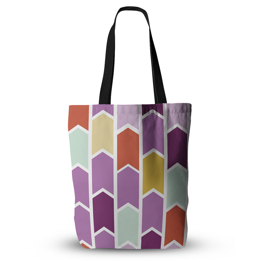 "Pellerina Design ""Orchid Geometric Chevron"" Purple Arrows Everything Tote Bag - KESS InHouse  - 1"