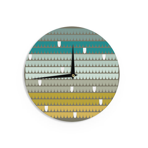 "Pellerina Design ""Teal Scallops"" Blue AquaWall Clock - Outlet Item"