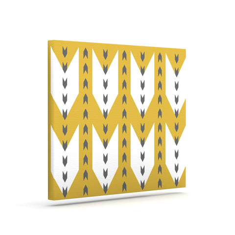 "Pellerina Design ""Golden Aztec"" Yellow White Canvas Art - Outlet Item"