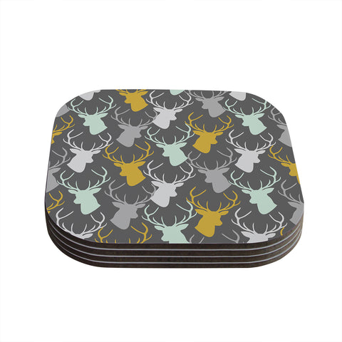 "Pellerina Design ""Scattered Deer"" Gray Coasters (Set of 4) - Outlet Item"