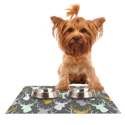"Pellerina Design ""Scattered Deer"" Gray Dog Place Mat - Outlet Item"