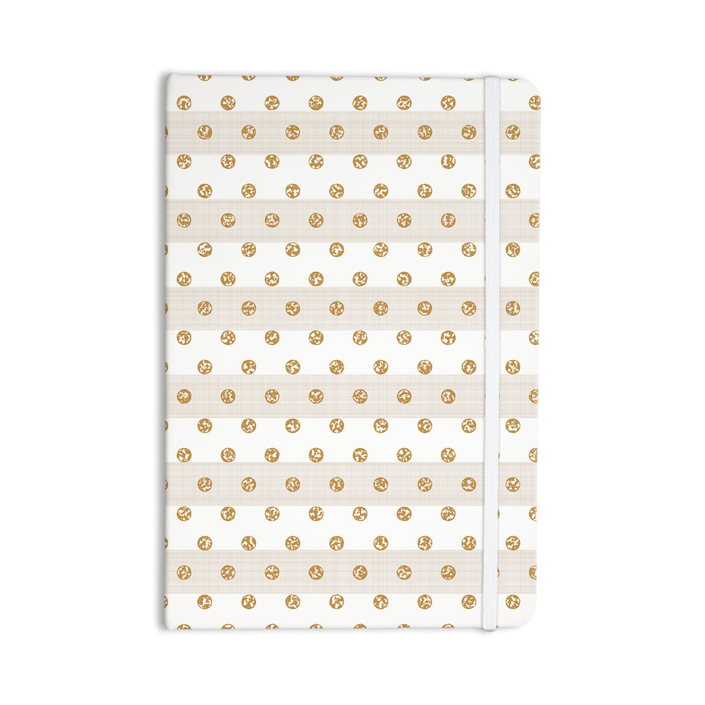 "Pellerina Design ""Linen Polka Stripes"" Gold Dots Everything Notebook - KESS InHouse  - 1"