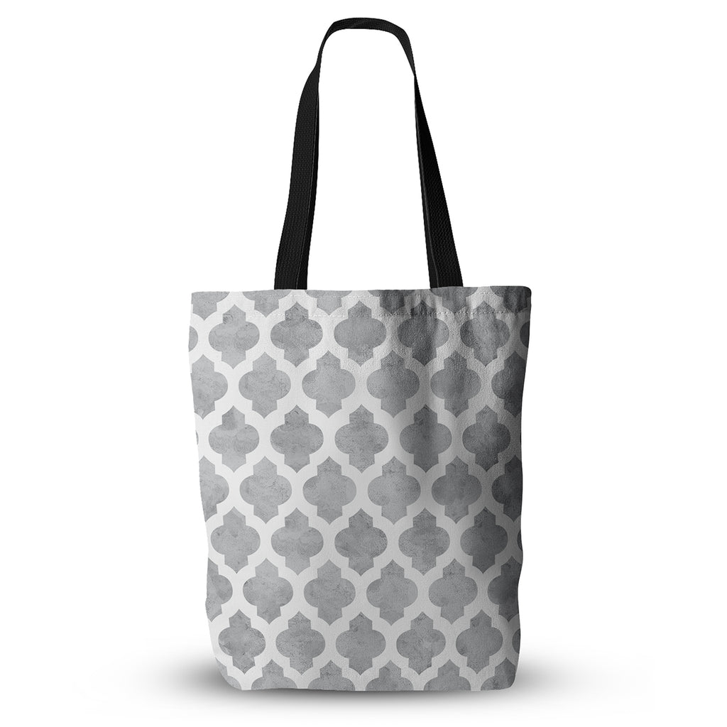 "Amanda Lane ""Gray Moroccan"" Grey White Everything Tote Bag - KESS InHouse  - 1"