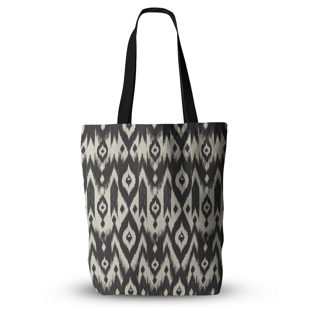"Amanda Lane ""Black Cream Tribal Ikat"" Tan Dark Everything Tote Bag - KESS InHouse  - 1"