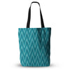 "Amanda Lane ""Island Blue"" Aqua Navy Everything Tote Bag - Outlet Item"
