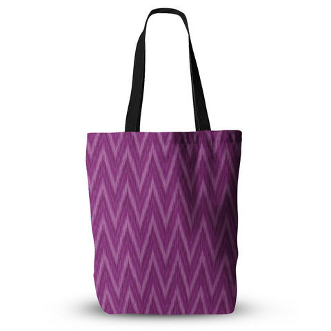 "Amanda Lane ""Plum Purple Chevron"" Lavender Fuschia Everything Tote Bag - KESS InHouse  - 1"