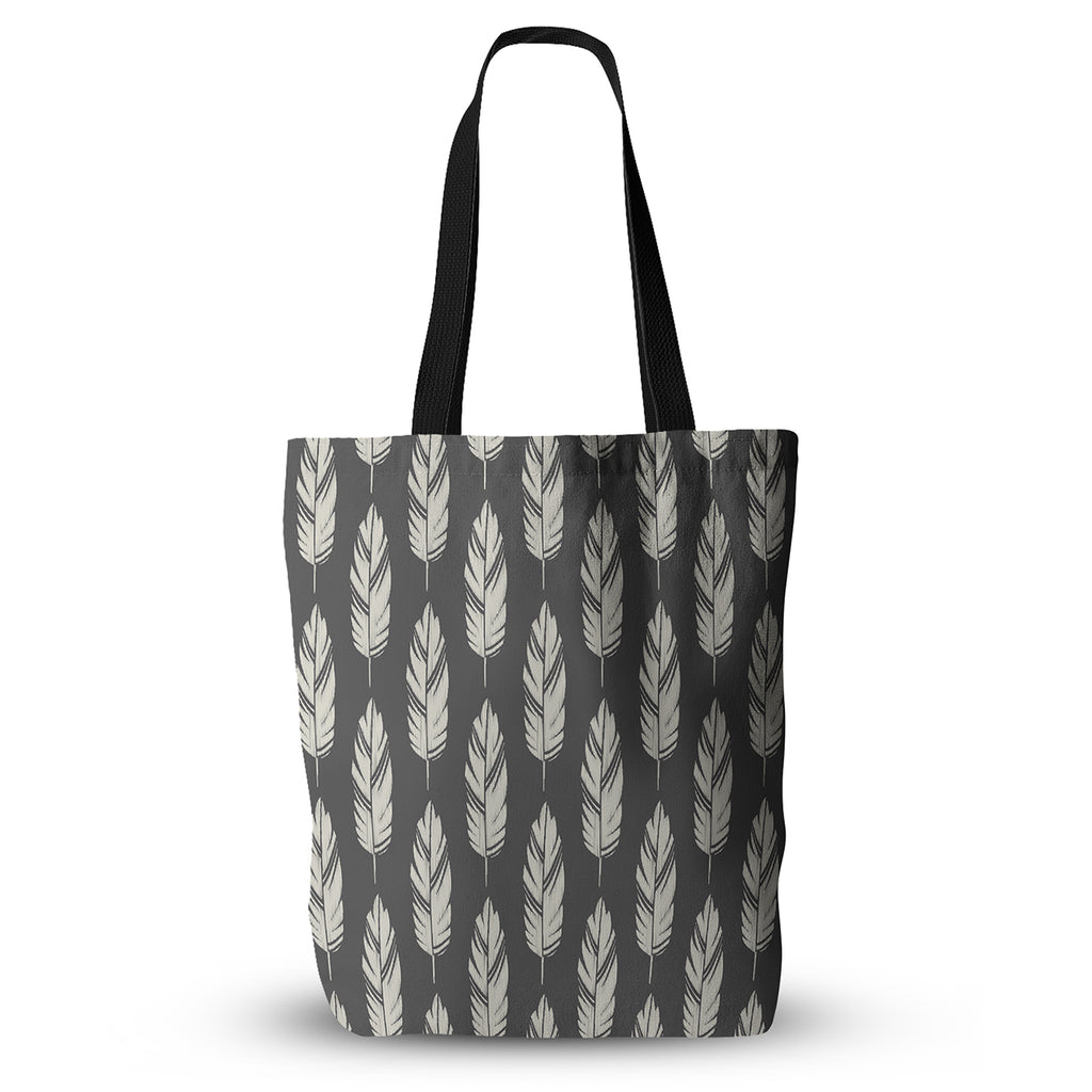 "Amanda Lane ""Feathers Black Cream"" Dark Pattern Everything Tote Bag - KESS InHouse  - 1"