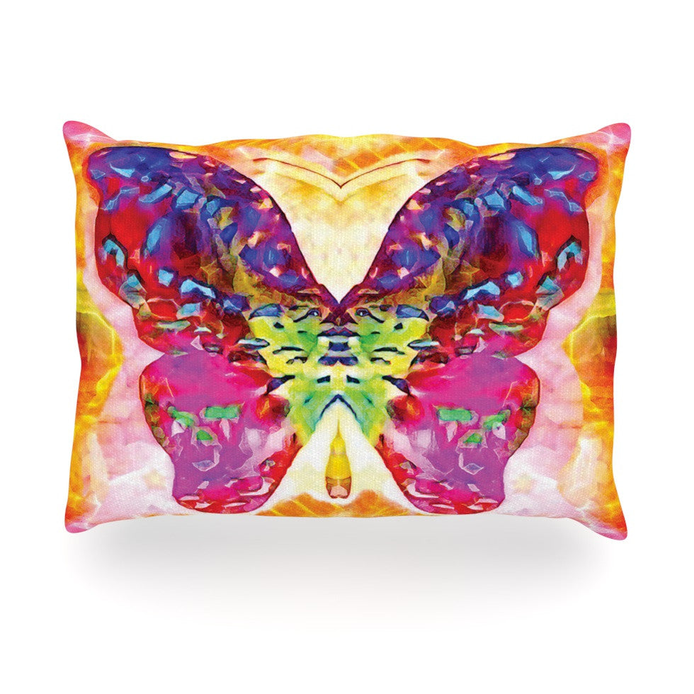 "Anne LaBrie ""Butterfly Spirit"" Pink Yellow Oblong Pillow - KESS InHouse"