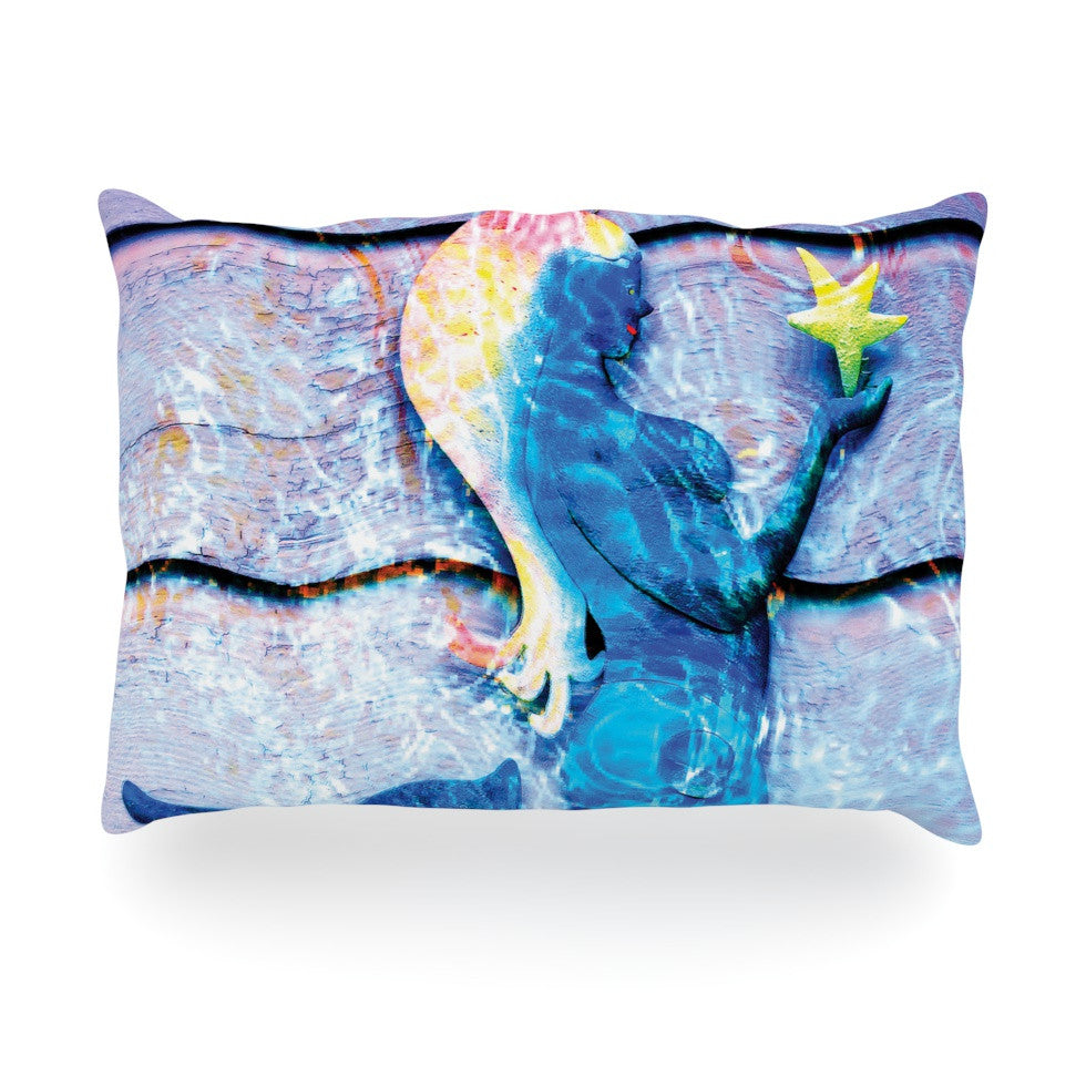 "Anne LaBrie ""Mermaid Starlight"" Aqua Blue Oblong Pillow - KESS InHouse"