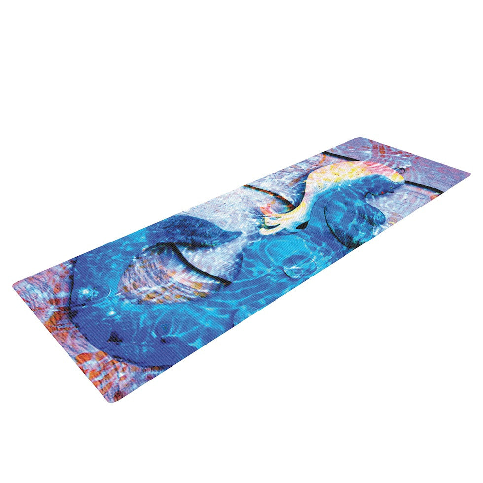 "Anne LaBrie ""Mermaid Starlight"" Aqua Blue Yoga Mat - KESS InHouse  - 1"
