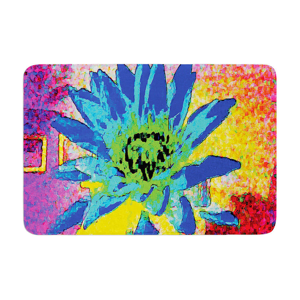 "Anne LaBrie ""Wild Lotus"" Blue Flower Memory Foam Bath Mat - KESS InHouse"