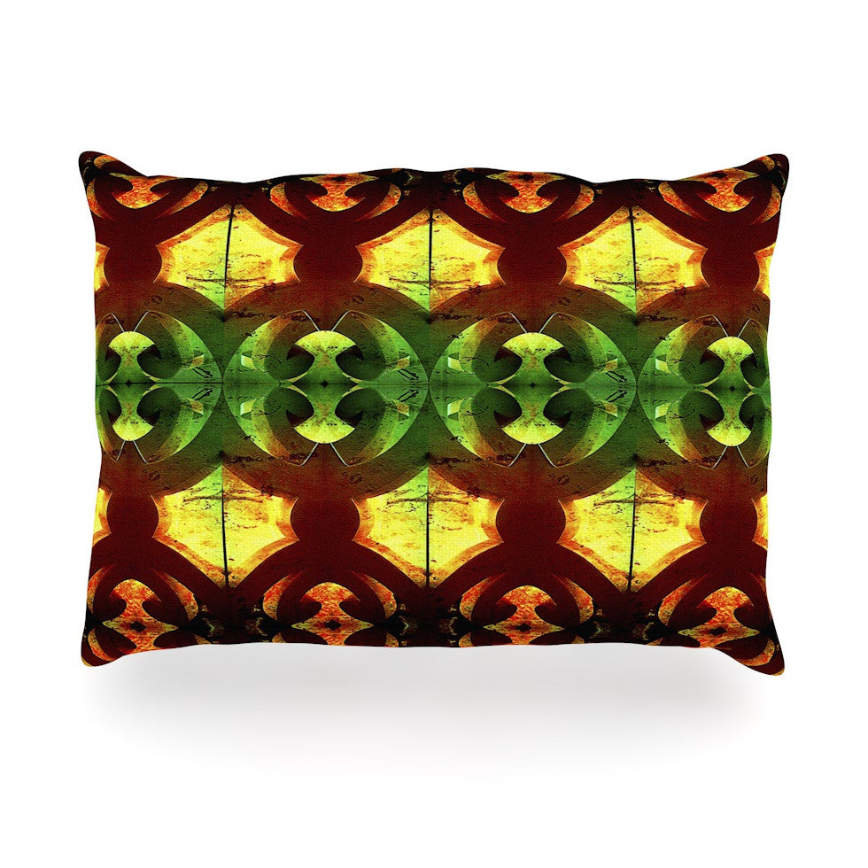 "Anne LaBrie ""Tribal Marsala"" Red Yellow Oblong Pillow - KESS InHouse"