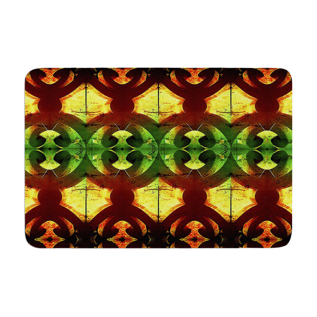 "Anne LaBrie ""Tribal Marsala"" Red Yellow Memory Foam Bath Mat - KESS InHouse"