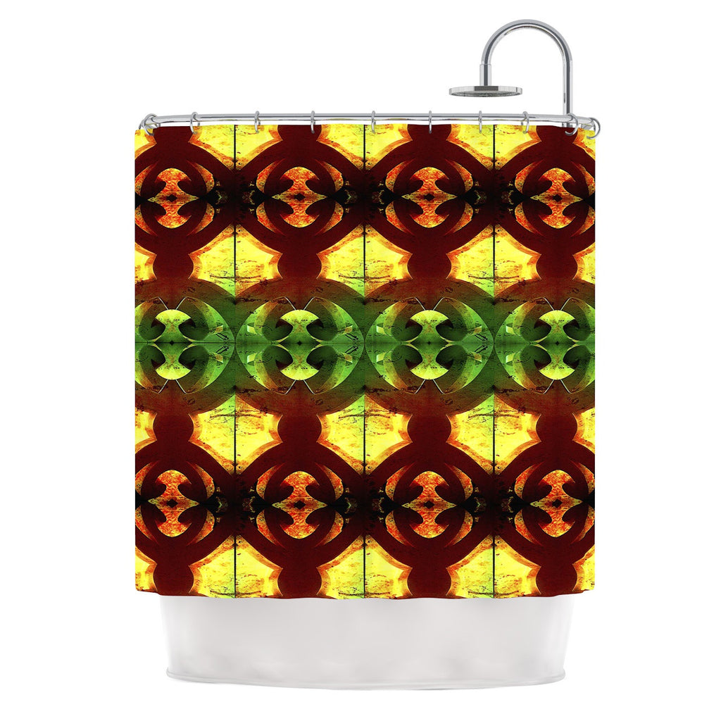 "Anne LaBrie ""Tribal Marsala"" Red Yellow Shower Curtain - KESS InHouse"